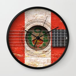 Old Vintage Acoustic Guitar with Peruvian Flag Wall Clock