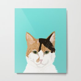 Calico Cat - Cute cat black, white, tan, orange tabby cat, cute kitten Metal Print