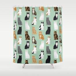 Cat breeds pattern kitty kittens cats tabby siamese white tortoiseshell Shower Curtain