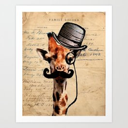 Giraffe Mustache Monocle Tophat Dandy Art Print