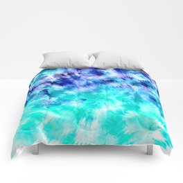 modern boho blue turquoise watercolor mermaid tie dye pattern Comforters