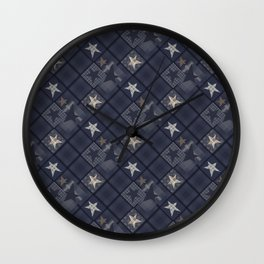 Gray blue patchwork Wall Clock