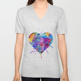 Heart Art Colorful Watercolor Gift Love Gift Valentine's Day Gift Wedding Gift Engagement Gift Unisex V-Neck