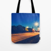 houston Tote Bags featuring Houston by GF Fine Art Photography
