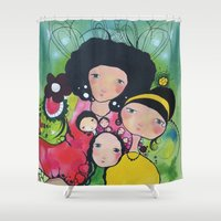 girls Shower Curtains featuring Girls by Linderholm Design