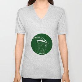 Robin Hood Side Profile Circle Woodcut Unisex V-Neck