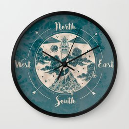 Lighthouse Compass Ocean Waves Gold Wall Clock