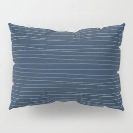 Horizontal White Stripes on Blue Pillow Sham