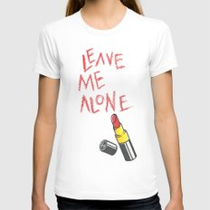 Leave me alone MEDIUM White Womens Fitted Tee