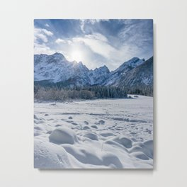 Sunny winter day at snowy frozen lake Fusine Metal Print