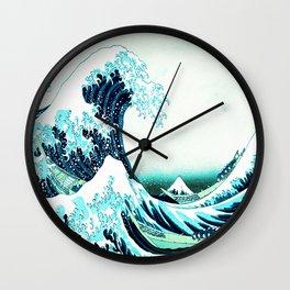the great wave : aqua teal Wall Clock