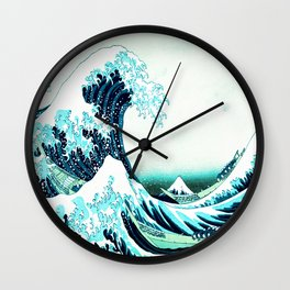 the great wave : aqua teal Wall Clock
