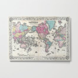 1852 J.H. Colton Map of the World Metal Print