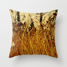 Snow covered pond reeds Throw Pillow