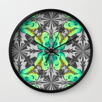 trex Wall Clocks featuring T. Rex Ice Pattern by chobopop
