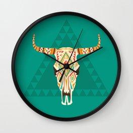 Patterned Cow Skull Wall Clock