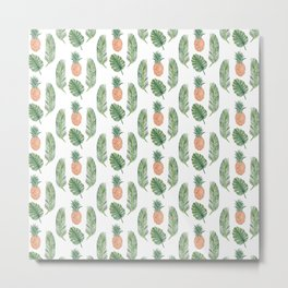 PINEAPPLES AND LEAVES WHITE Metal Print