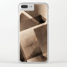 Sepia Shapes - Digital Geometric Texture Clear iPhone Case