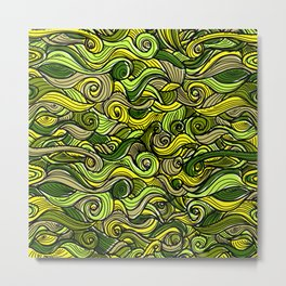 Snakes green plants plant pattern Metal Print