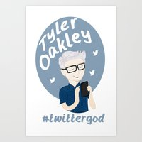 tyler oakley Art Prints featuring Tyler Oakley #twittergod by Plum Wild