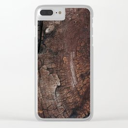burned wood texture Clear iPhone Case