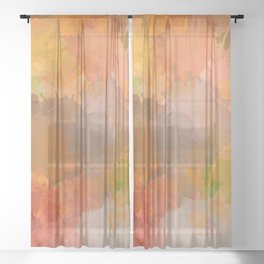 Modern contemporary Yellow Orange Abstract Sheer Curtain