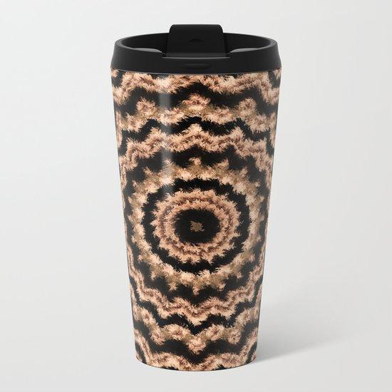 Kaleidoscope Beige Circular Pattern on Black Metal Travel Mug