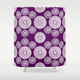 Deep Plum and Silver Patterned Mandalas Shower Curtain