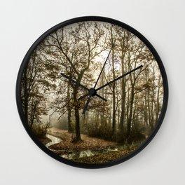 Trees - Forest - Fog - Foggy - Foggy Morning - Stream - Haze. Little sweet moments. Wall Clock
