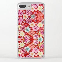 Crimson Floral Chirimen Clear iPhone Case