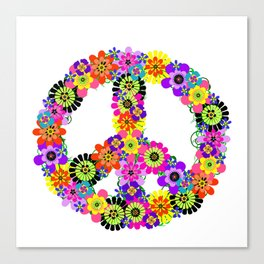 Peace Sign of Flowers Canvas Print