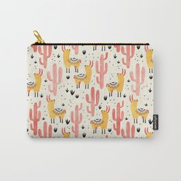 Yellow Llamas Red Cacti Carry-All Pouch