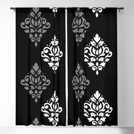 Scroll Damask Art I Black Grey White Blackout Curtain