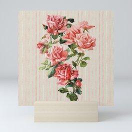 Vintage romantic coral pink roses on watercolor blush sage stripes Mini Art Print