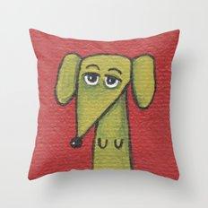 Green Dachshund  Throw Pillow