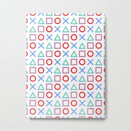 Gamer Pattern Color on White Metal Print