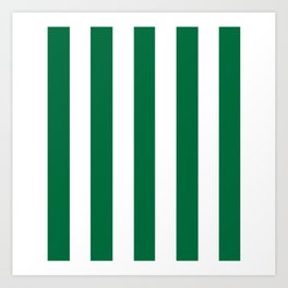 Cadmium green - solid color - white vertical lines pattern Art Print