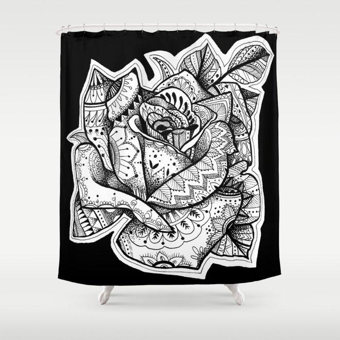 Henna Rose Tattoo Shower Curtain
