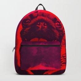 happy pug vector art red purple Backpack