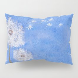 flying dandelion watercolor painting Pillow Sham