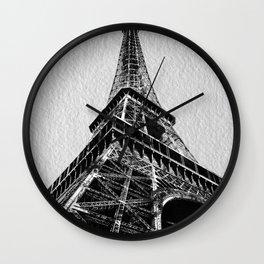 The Eiffel Tower, Paris BW Wall Clock