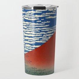 "Hokusai (1760–1849) ""Fuji, Mountains in clear Weather (South Wind, Clear Sky)(Red Fuji)"" Travel Mug"