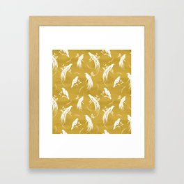 Birds of paradise mustard/white Framed Art Print