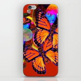 DECORATIVE MONARCH BUTTERFLIES & SOAP BUBBLES  ON TURMERIC  COLOR ART iPhone Skin