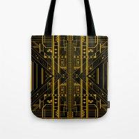 da vinci Tote Bags featuring Da Vinci Code by CYRUSCOPE