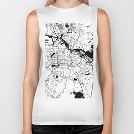 Amsterdam White on Black Street Map Biker Tank
