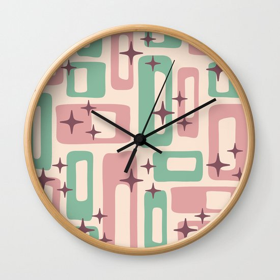 Retro Mid Century Modern Abstract Pattern 222 Dusty Rose and Pastel Green by tonymagner