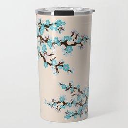 Japanese Sakura Cherry Blossoms (ivory/aqua) Travel Mug