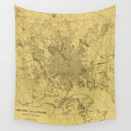 Vintage Baltimore Map 1919 Wall Tapestry