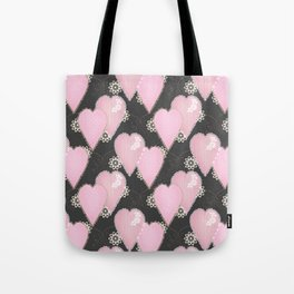 Retro . Applique. Textile pink hearts on a grey background . Patchwork . Tote Bag